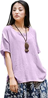 Soojun Women's Casual Loose Short Sleeve Round Collar Cotton Linen Shirt Blouse Tops