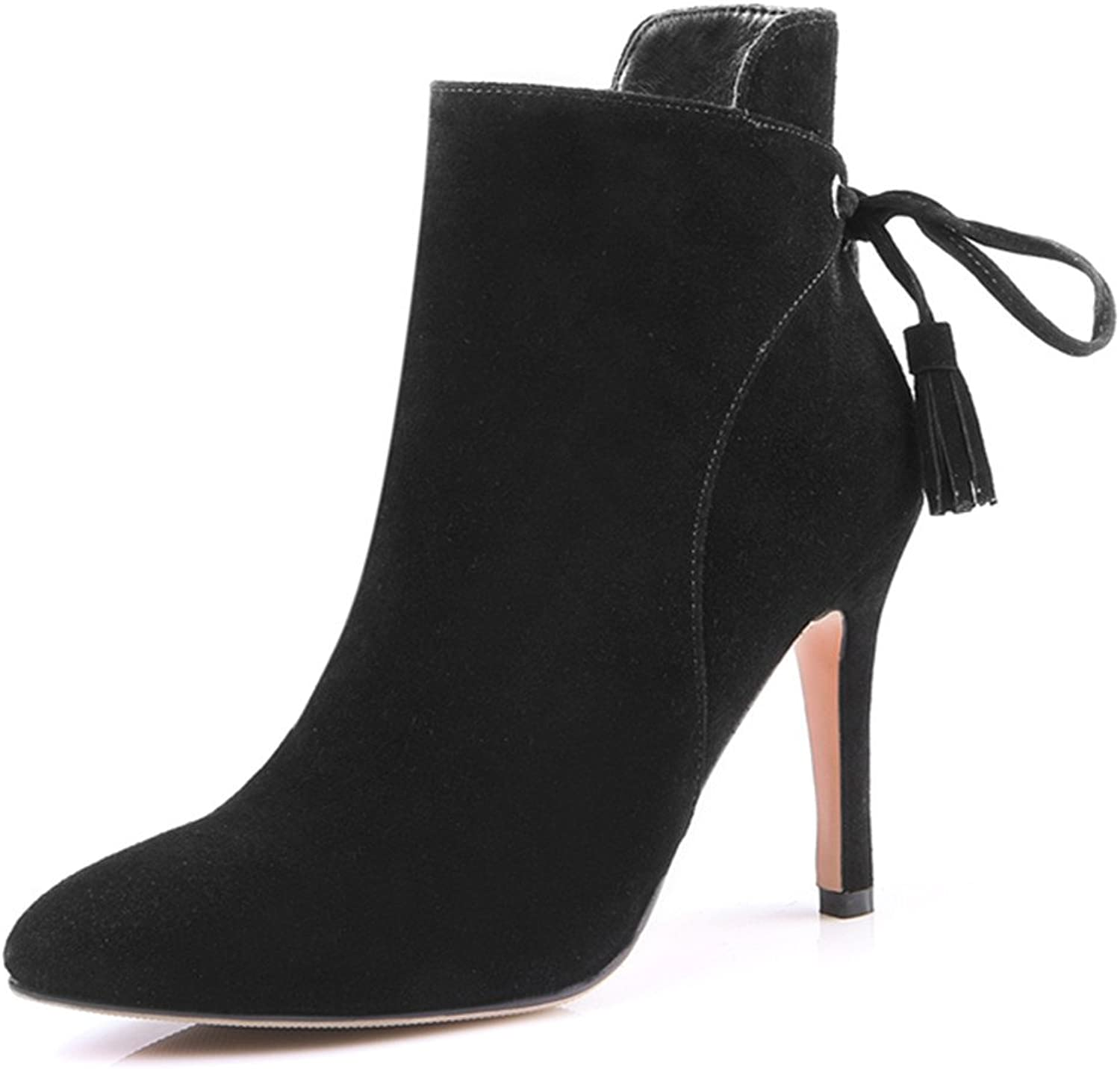 Nine Seven Nubuck Leather Women's Pointed Toe Stiletto Heel Lace Up Handmade Ankle booties