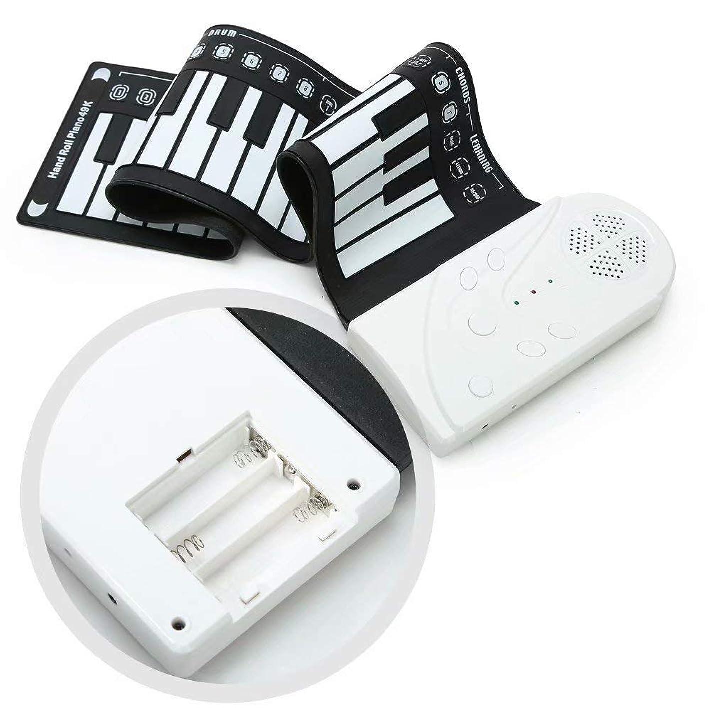 青富男性Burning Go ロールピアノ 49鍵盤 キーボード ピアノ 折り畳み式 おもちゃ 知育玩具 練習用 電子ピアノ ハンドロールピアノ 初心者 子供 3歳 4歳 5歳 6歳 持ち運び プレゼント 贈り物