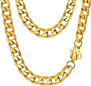 18K Faux Gold Chain Hip Hop Necklace, 90s Punk Style Necklace Costume Stainless Steel Jewelry (24 inches, 10mm) (Gold) …