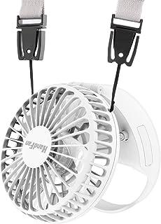 HandFan 扇風機 首掛け ミニ ハンディファン 携帯扇風機 小型せんぷうき ポータブル 調整可能ストラップ 磁気スイッチ 自然風 静音 強風 風量3段階調節 折りたたみ 壁掛け 卓上 デスク 夏 屋外 アウトドア 熱中症 暑さ対策 (白)