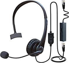 $27 » Phones Headset RJ9 with Pro Noise Canceling Mic and Mute Switch Telephone Headset with Smart Cord Compatible with Polycom ...