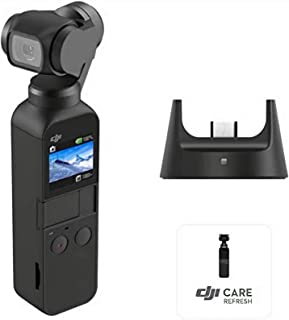 """DJI Osmo Pocket Prime Combo - Handheld 3-Axis Gimbal Stabilizer with Accessory Kit and DJI Care Refresh, integrated Camera 12 MP 1/2.3"""" CMOS 4K Video, Attachable to Smartphone, Android, iPhone - Black"""