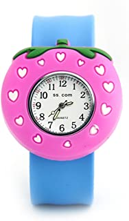 Vavna Lovely Top Boys Girls Fashion Cartoon Animal Silicone Slap Snap On Wrist Watch - Pink Strawberry