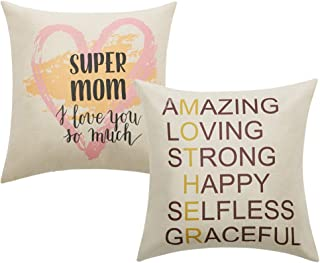 Anickal Mom Gifts Super Mom Quote Print Pillow Covers 18 x 18 Inch for Mother's Day Home Decoration, Best Gifts for Mom's Birthday