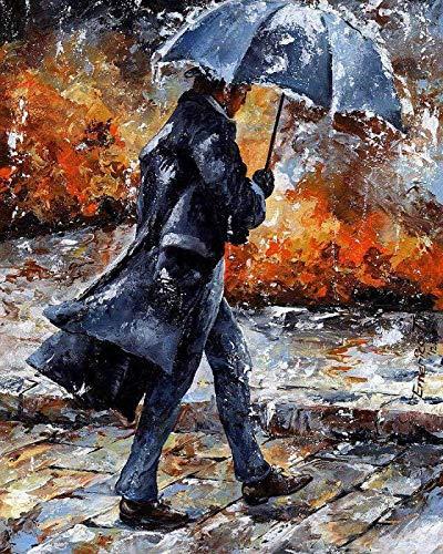 Lege doe-het-zelf schilderen op cijfers voor volwassenen, meester van regen, schilderset, voor beginners, nieuw schilderwerk, 40 x 50 cm, zonder lijst