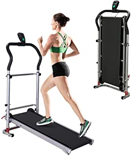 uublik Multi-Function Folding Manual Treadmill Portable Treadmill,Shock-Absorbing Work Machine with LCD Screen for Home Fitness Exercise Equipment