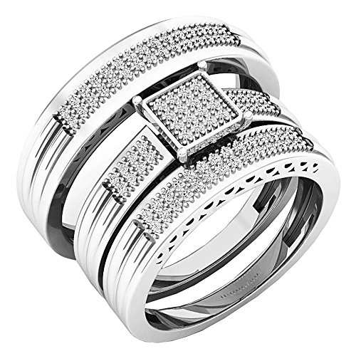 Dazzlingrock Collection 0.24 Carat (ctw) Round White Diamond Men's & Women's Engagement Ring Trio Set 1/4 CT, 10K White Gold (0.24 Ct Pave Diamond)