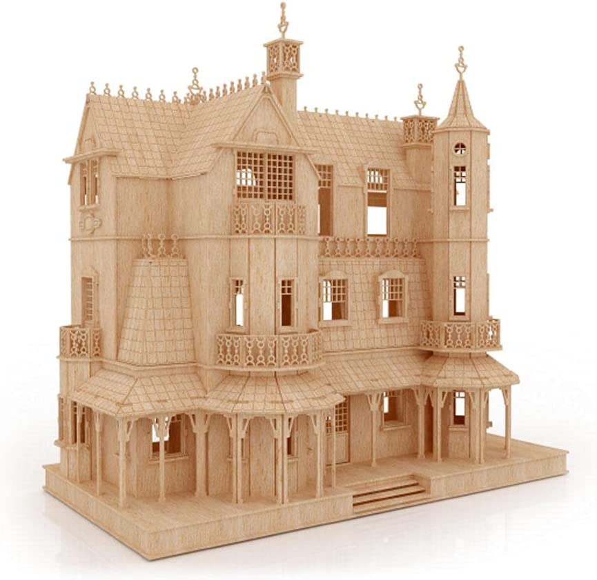 Bird's Wood Daily bargain sale Shack Gothic Mansion Model Puzzle fo - 3D At the price of surprise Kit Wooden
