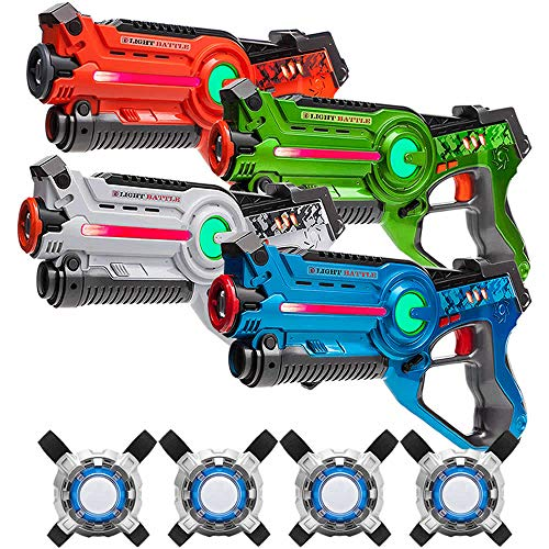 Light Battle Active Lasertag für Zuhause - 4X laserpistole (orange, grün, weiß, blau) + 4 Weste - LBAPV2441234