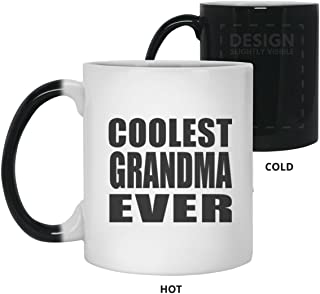 Coolest Grandma Ever - 11oz Color Changing Mug Magic Tea-Cup Heat Sensitive - Gift for Friend Colleague Retirement Graduation Birthday Anniversary Christmas Xmas Santa