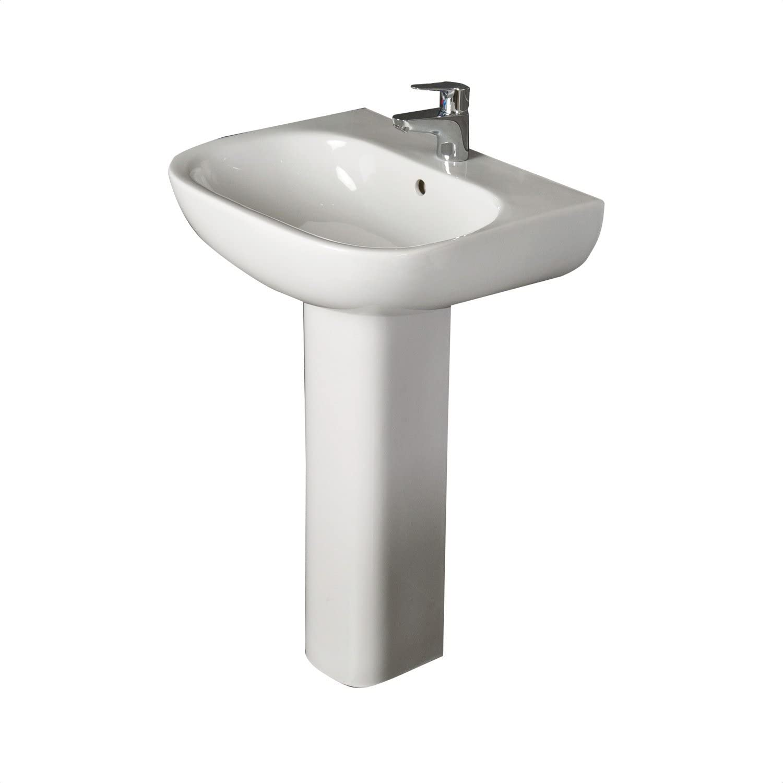 RAK Ceramics Tonique Bathroom Basin Sink Full Floorstanding Pedestal White Gloss