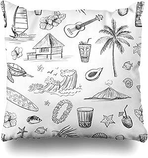 Ahawoso Throw Pillow Cover Mask Bar Hawaii Sketches Tiki Holidays Exotic Sketch Hut Beach Island Hawaiian Design Holiday Zippered Pillowcase Square Size 18 x 18 Inches Home Decor Pillow Case