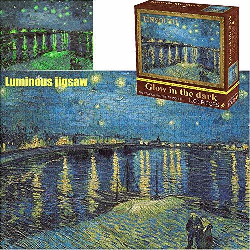 TINYOUTH 1000 Teile Sternennacht über der Rhone Puzzle für Erwachsene, 70x50cm 2mm Berühmte Gemälde Kollektion Puzzle Familienpuzzle Schwieriges Puzzle Rahmen Puzzle für Kinder Erwachsene 14+