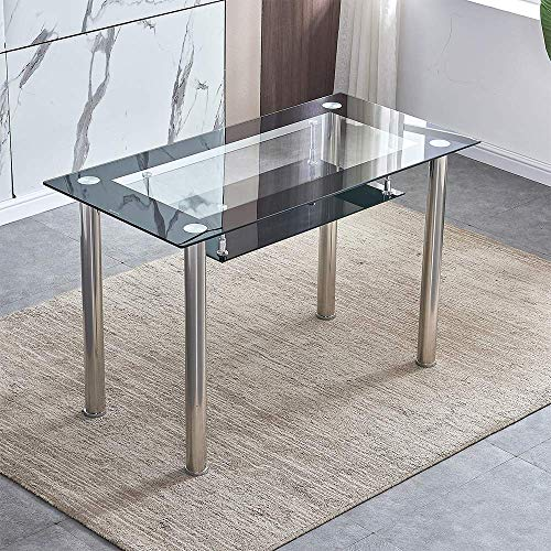 2-Tier Glass Dining Table Rectangle for Dining Room Kitchen, Tempered Glass Tabletop + Metal Legs for Home/Office/Restaurant (Rectangle: 120×60×75cm, 2-Tier Black Border)