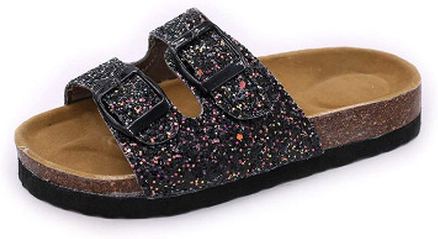 Non-Slip Cork Sequins Women's Slippers Crystal Double-Breasted Lady,
