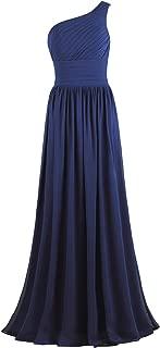 Ants Women's Pleat Chiffon One Shoulder Bridesmaid Dresses Long Evening Gown