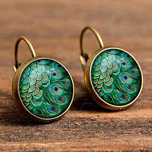 Kanggest.Redondo Pendientes de Diamante con Pluma de Pavo Real Collar Pendientes Conjuntos Retro Turquesa para Mujer joyería Joyería Accesorios(Verde)