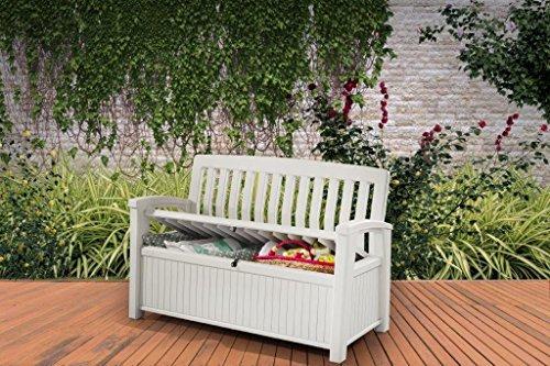 Koll-Living Gartenbank/Aufbewahrungsbox/Auflagenbox Farbe Weiß – 227 Liter – Deckel belastbar bis 272 KG – Belüfteter Innenraum – kein übler Geruch oder Schimmel – Modell 2020 - 2