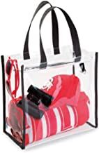 mDesign sac de voyage pour transport d'accessoires – sac organisateur pour produits de soins, produits cosmétiques ou pour transporter les ustensiles de la plage – transparent, noir