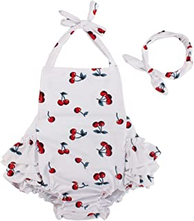Baby Girl Cherry Pattern Bathing Suits Outfits Rompers with Headband 0-4 Years