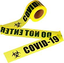 VICMORE Highly Visible Caution Tape with Bold Black Text COVID-19 DO NOT ENTER 3-Inch by 660-Feet Roll Bright Yellow Quara...