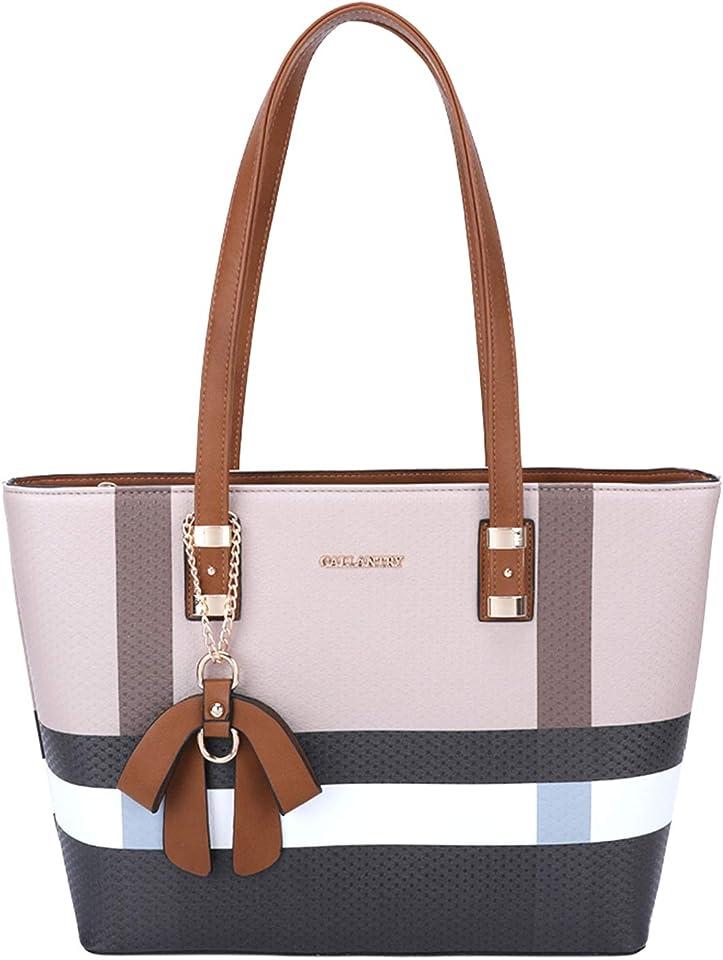 – Einkaufstasche für Damen A4 – Handtasche, Schulter, wasserdicht – mit Bommel, lange Henkel, große Größe XL – Chic Trend – Silimicuir