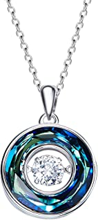 WANZIJING S925 Sterling Silver Necklace, Dancing Heart Diamond Pendant Australia Crystal Necklace Jewelry Dancing Stone Necklace The Diamond Keeps Moving as if it is Dancing