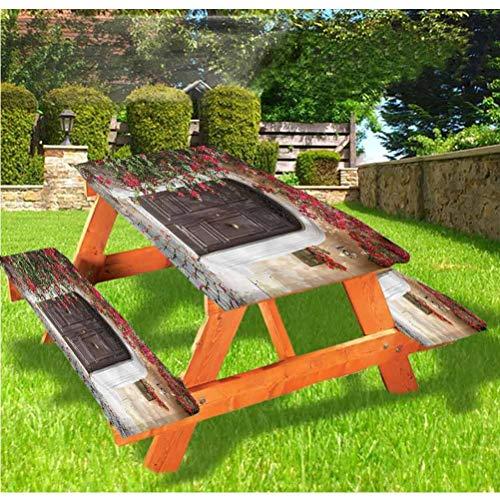 LEWIS FRANKLIN - Cortina de ducha marroquí de lujo, cubierta de mesa de picnic, puerta vieja con borde elástico de flores, 70 x 72 cm, juego de 3 piezas para mesa plegable