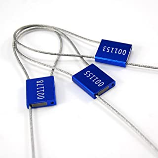 Security Cable Seals Stainless Steal Cable Tag Pull Ties Tag Tamper Evident Seal Numbered Label (50pcs X Blue)