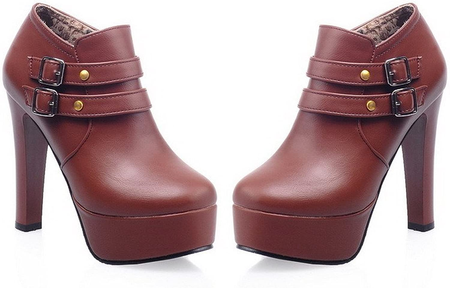 WeiPoot Womens Round Closed Toe High Heels PU Solid Boots with Metal Nail and Buckle