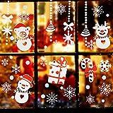 Natale Vetrofanie, Decorazione Per Finestre Vetri-Autoadesive Smontabile Adesivo Fiocco di Neve Natale Porta Finestra Sticker Murale Decal