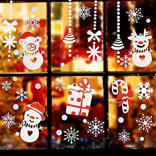 Pegatinas de Navidad, Calcomanías de Ventana de Copo de Nieve Santa Claus...