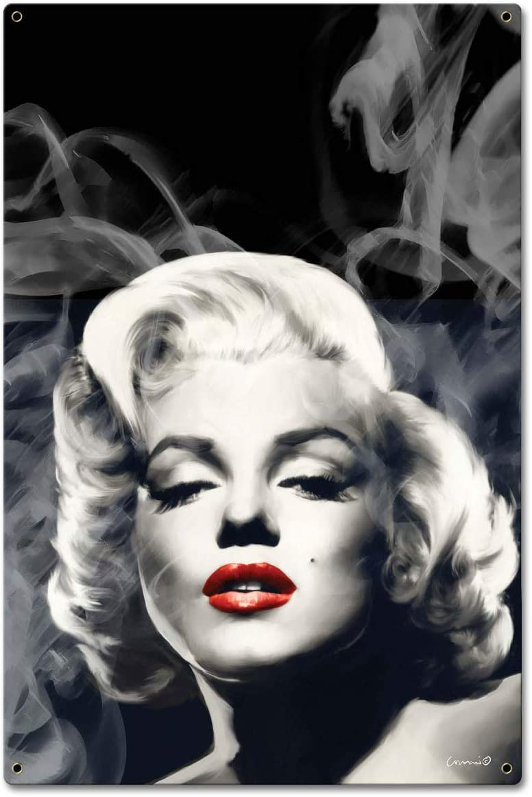 Pasttime Directly managed store Signs JGS037 Red Ranking TOP2 Lips Smokey Marilyn in. 24 16 Sign - x