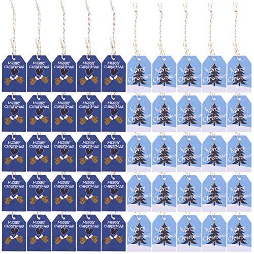 STOBOK Weihnachtskraftpapier Geschenkanhänger Hängen Etiketten mit Seilen für DIY Weihnachtsbaum Geschenkverpackung Urlaub Dekorationen Blau 200Pcs