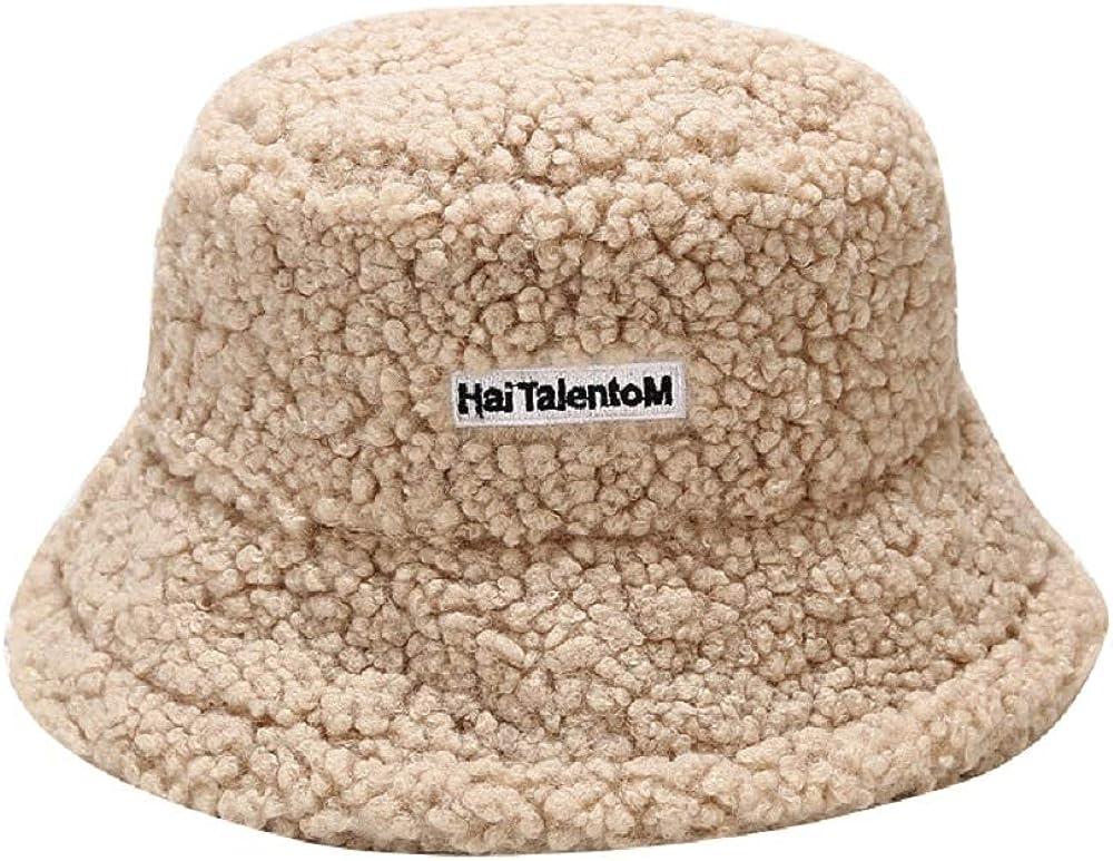 SYcore Teddy Style Fluffy Bucket Hat,Faux Fur Wool Warm Winter Hats