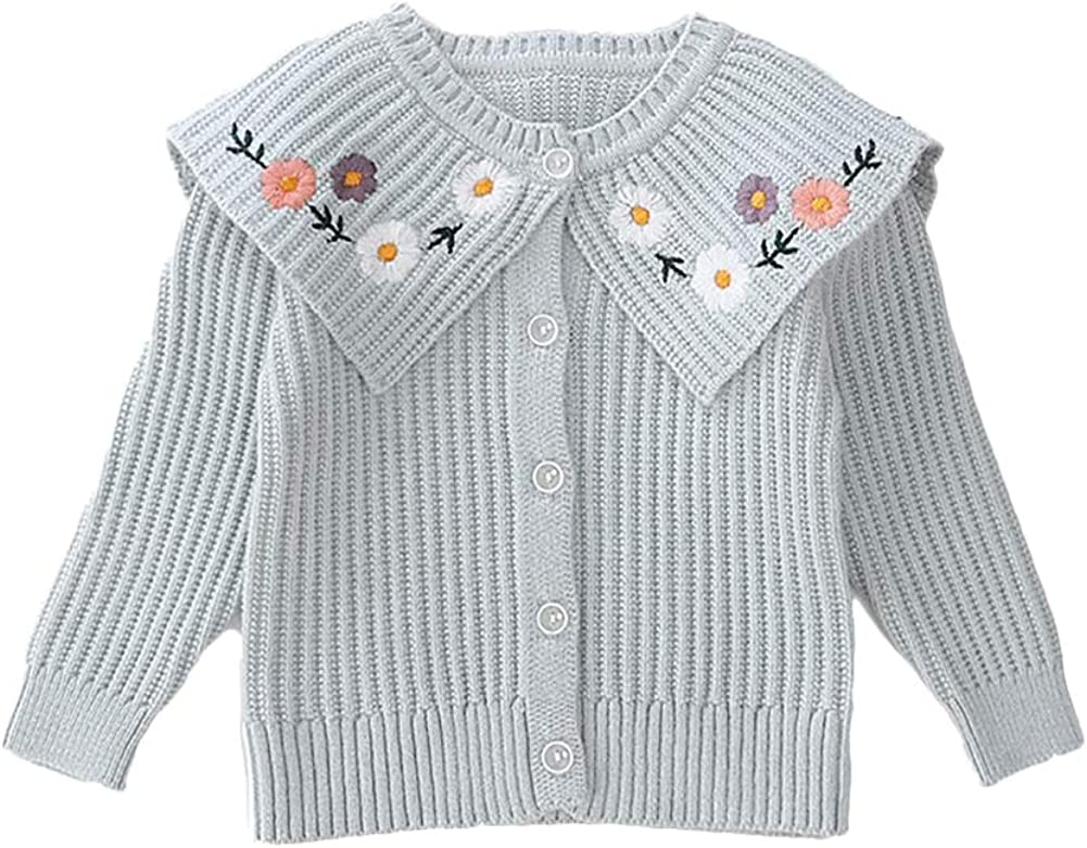 Moonnut Girls Cardigan Sweaters Floral Embroidered Knitted Outwear for 1-5 Years