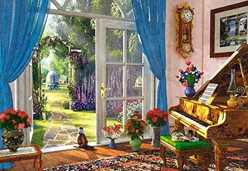 Legpuzzels Voor Kinderen 1000 Stukjes, Retro Piano, Woonkamer Uitzicht, 1500/1000/500 Stukjes, Puzzel Spelletjes Woondecoratie Cadeaus