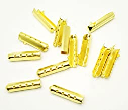 Shoelace Tip Head Bullet Metal Smooth Ends Aglet Repair Shoe Lace Tips Lock Clips Replacement For Paracord Shoes Clothes Lace DIY repairing(50Pcs, Gold)