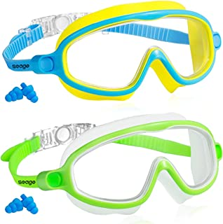 Seago Swim Goggles 2 Pack Anti-Fog Anti-UV Wide View Goggles Kids Swimming for Teens