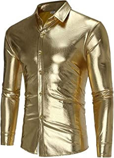 WSPLYSPJY Men's Casual Metallic Slim Long Sleeve Button Down Party Shirts