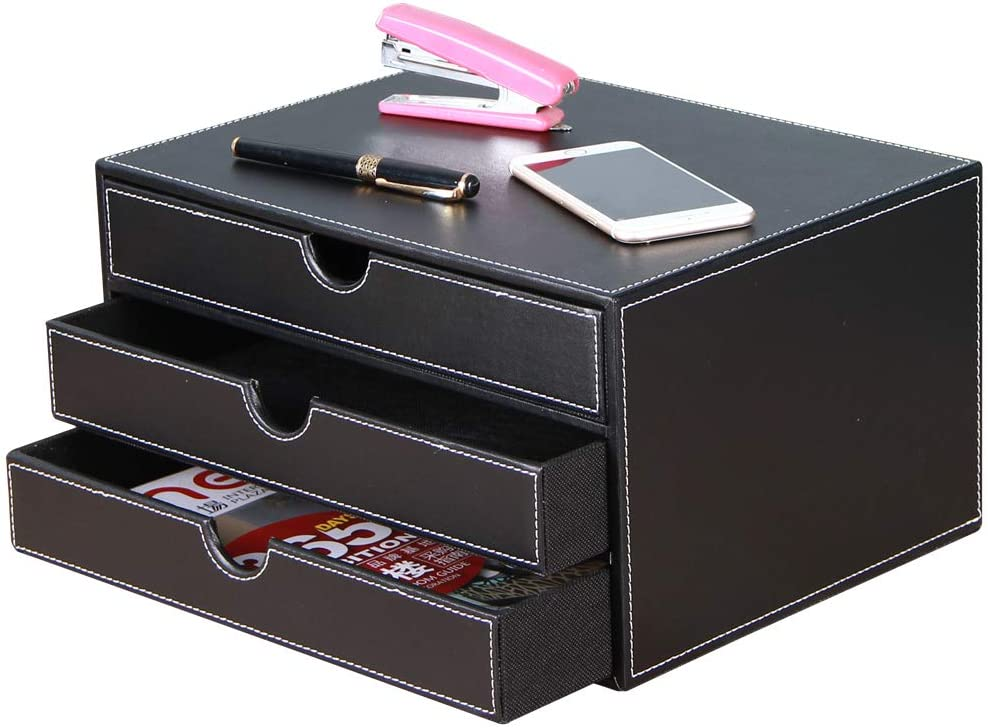 High-end Bargain PU OFFer Leather Desk Organizer File Office Executive Cabinet