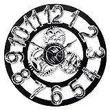 Top Race Reloj de pared redondo de 16 pulgadas, diseño de engranajes antiguos de madera hechos a mano en 3D de la vendimia, por Chevy K. (plata con números)