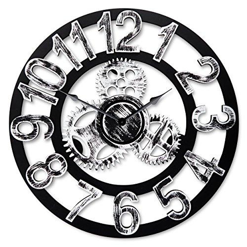 Top Race Reloj de pared redondo de 16 pulgadas, diseño de