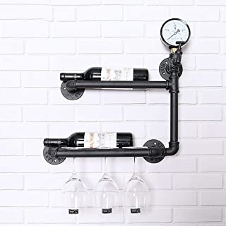 Wine Racks Wall-mounted Iron Wine Rack Wall Shelf Decorative Shelf for Dining Room Glass Holder Storage