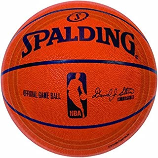 "amscan Sports and Tailgating NBA Party Spalding Basketball Round Plates Tableware, Paper, 7"" (Party Pack: 54 Count)"