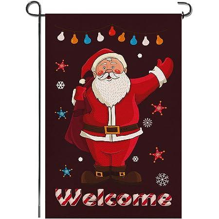 Shmbada Merry Christmas Burlap Garden Flag Double Sided Vertical Yard Lawn Outdoor Santa Claus Chimney Decorative Flag for Yard Lawn Porch Patio Farmhouse 12.5x18.5 Inch