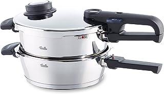 Fissler vitavit premium / Juego de ollas a presión (4,5 + 2,5 litros, Ø 22 cm) de acero inoxidable, 2 niveles de cocción, apta para cocinas de inducción, gas, vitrocerámica y eléctricas