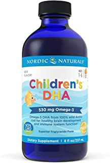 Nordic Naturals Children's DHA Liquid - Omega-3 DHA Fish Oil Supplement for Kids, Supports Heart Health and Brain Development for Children During Critical Years, Orange, 8 Fl. Oz