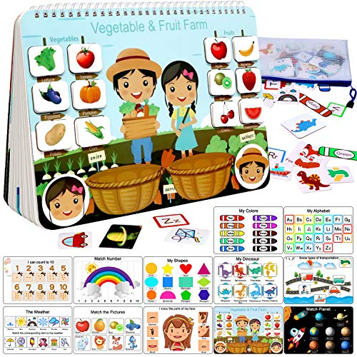 Busy Book for Kids, Montessori Toys for Toddlers, Autism Sensory Educational Toys, 12 Pages Toddler Preschool Activity Binder and Early Learning Toys Book - for Boys & Girls Develops Fine Motor Skills